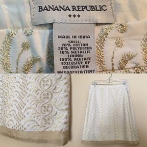 Banana Republic Gold Embroidered Pencil Skirt 6